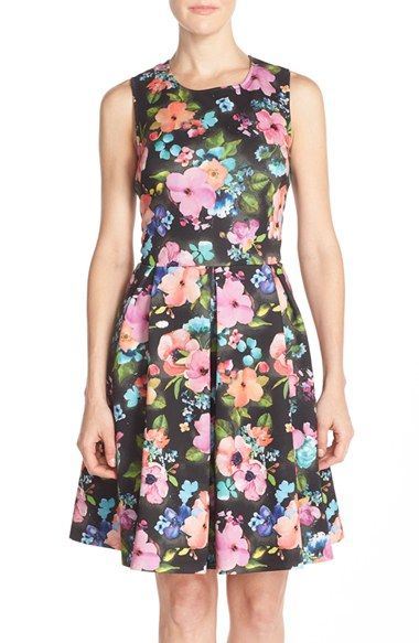 Betsey Johnson Cutout Back Floral Scuba Fit & Flare Dress available ...