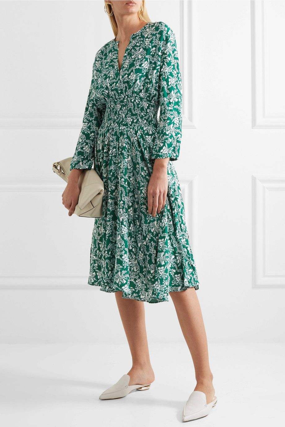 Maje - Rayelle shirred floral-print crepe dress