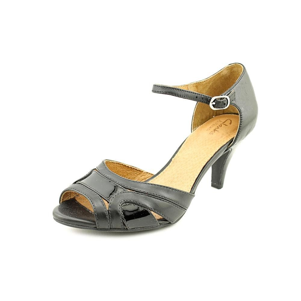 """Clarks Cynthia Arlene Women's Black Leather w/ Black Patent Leather 9.5-Medium. Leather upper. Adjustable ankle strap. 2.75"""" heel height. Cushioned footbed with Active Air® for all-day comfort. Rubber outsole."""