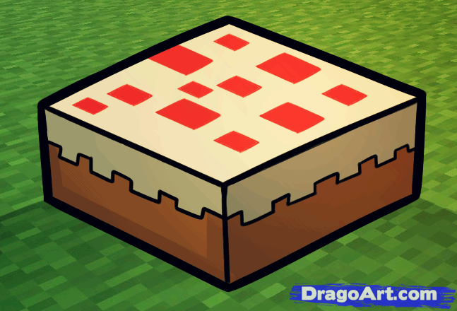 Minecraft Cakes How To Draw A Minecraft Cake Step By Step Video Game Characters Pop Minecraft Drawings Minecraft Cake Drawings