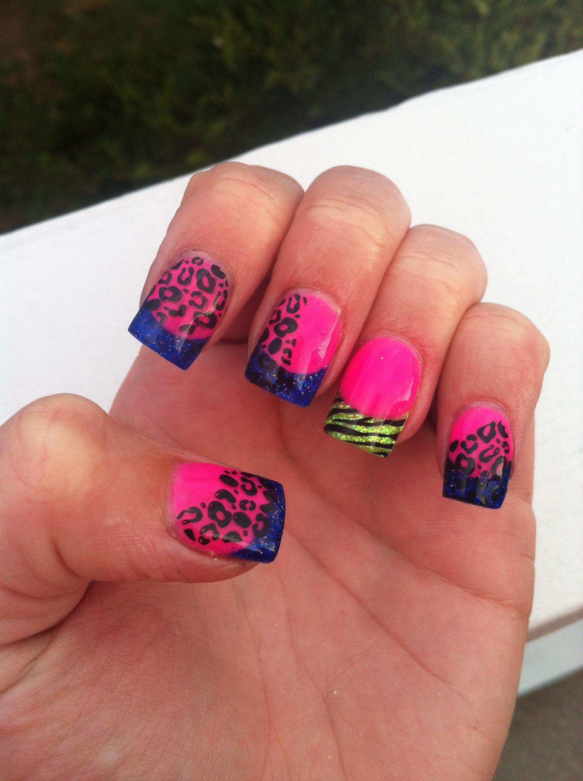 Neon wild acrylic nails | My Nail Art | Pinterest | Gorgeous nails ...