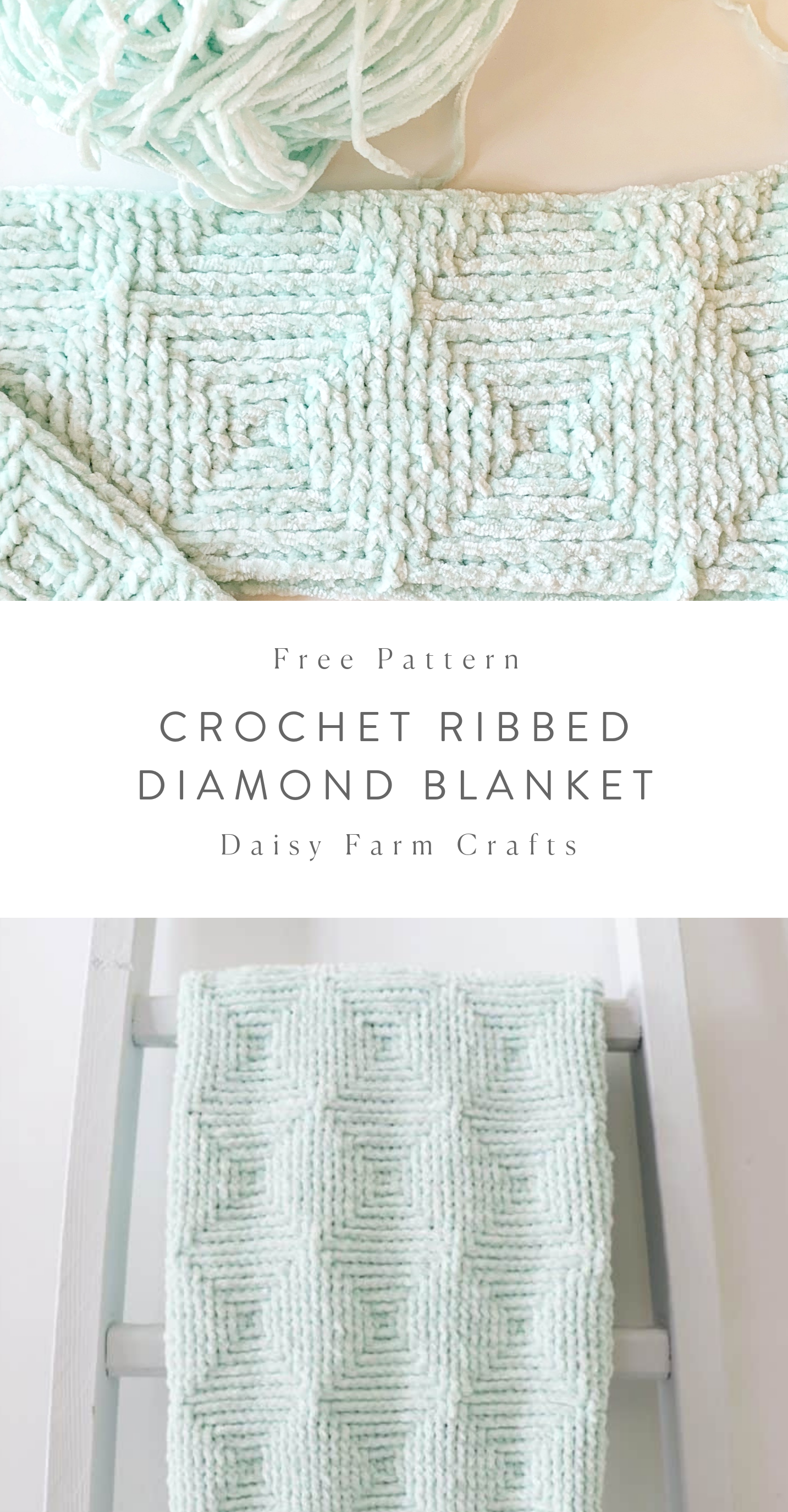 Free Crochet Blanket Pattern - Ribbed Diamond Blanket