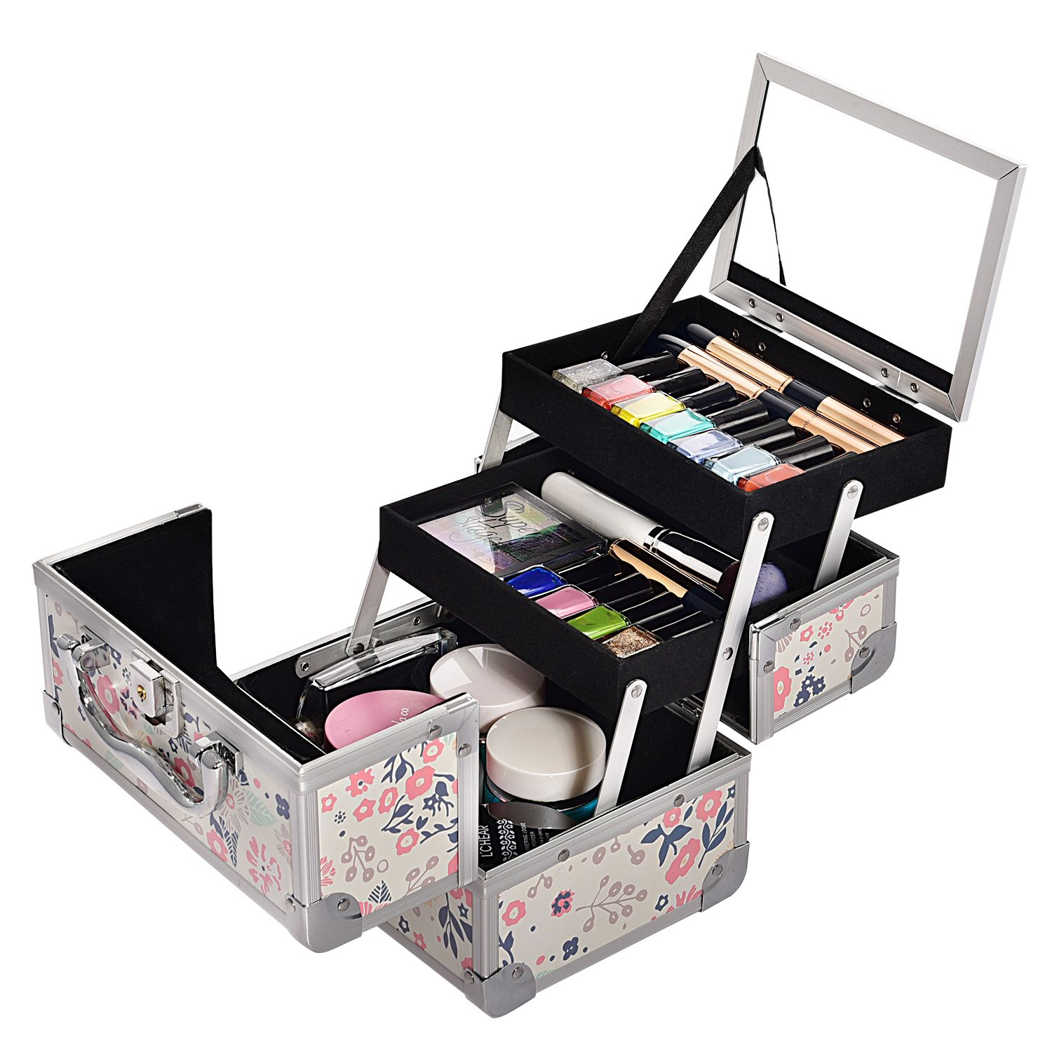 professional white lockable striped large kit black box makeup p beautify case beauty s jewellery tattoo carrying vanity hairdressing nail