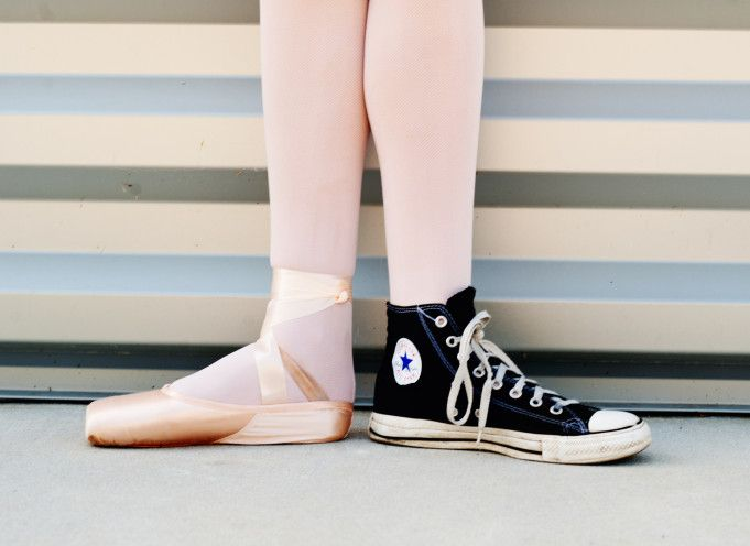 Pointe Ballet Slipper And Converse Sneaker By Marie Still