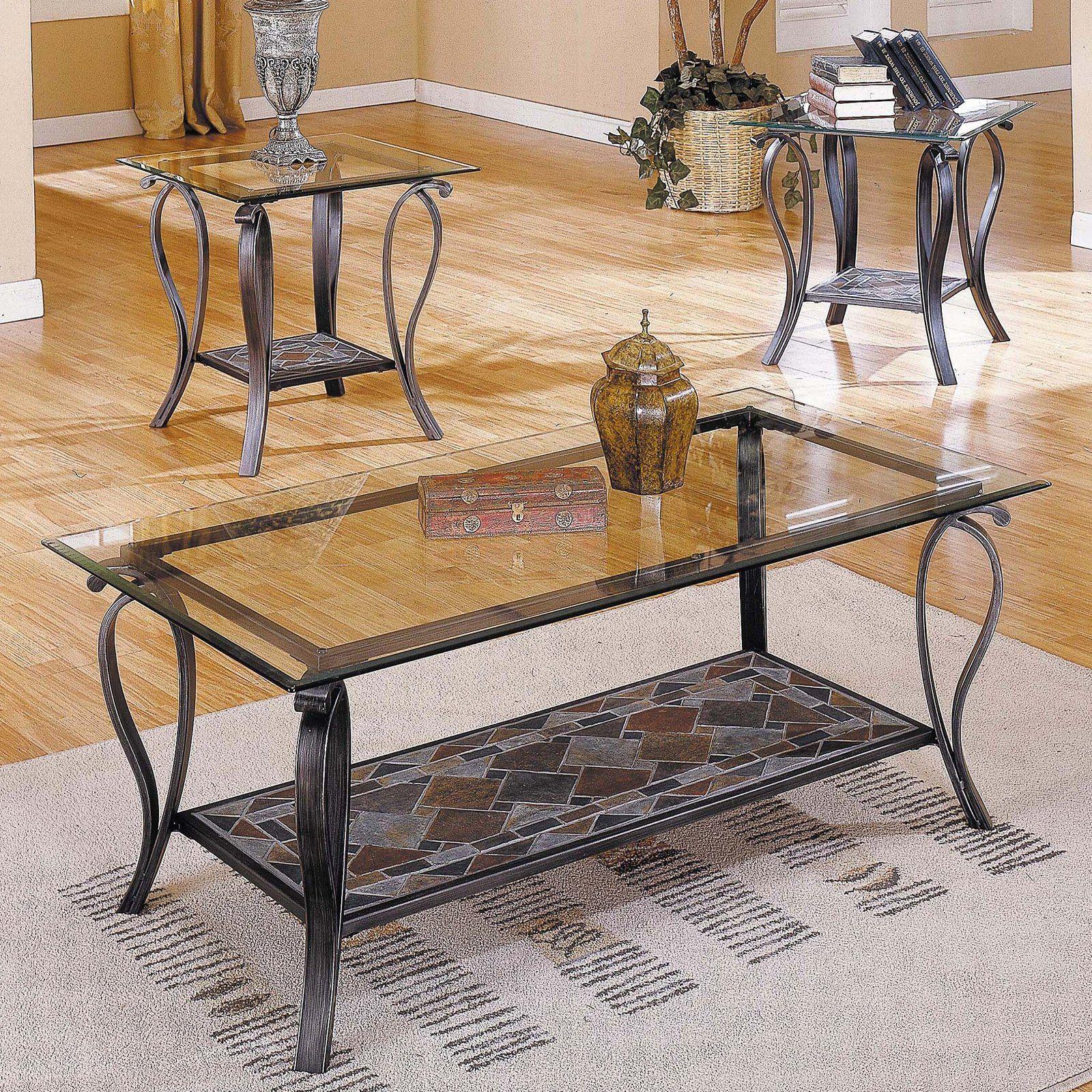Glass And Slate Coffee Table Set Celeste Coffee