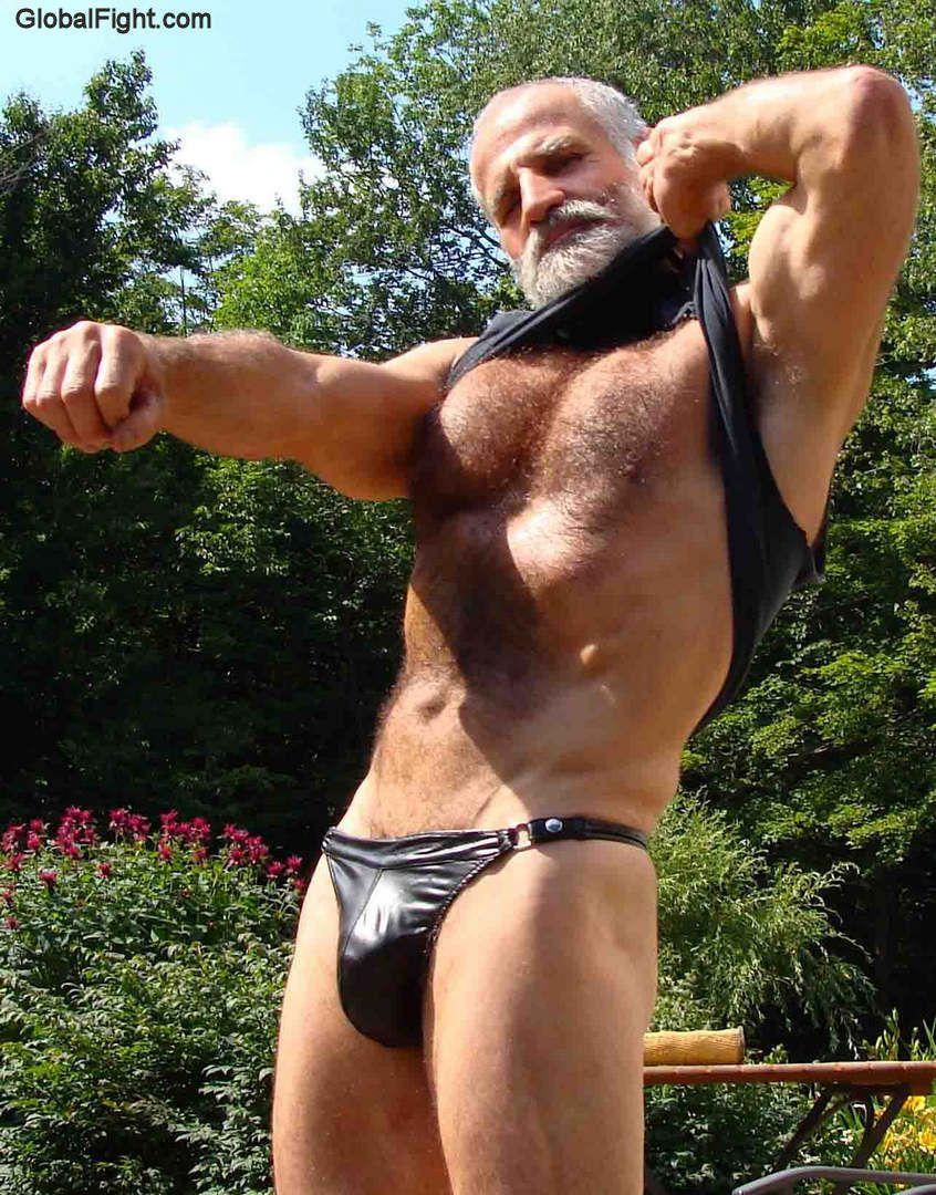 Naked Hairy Grandpa Best grandad wearing jockstrap gstring | hairychest daddy gay