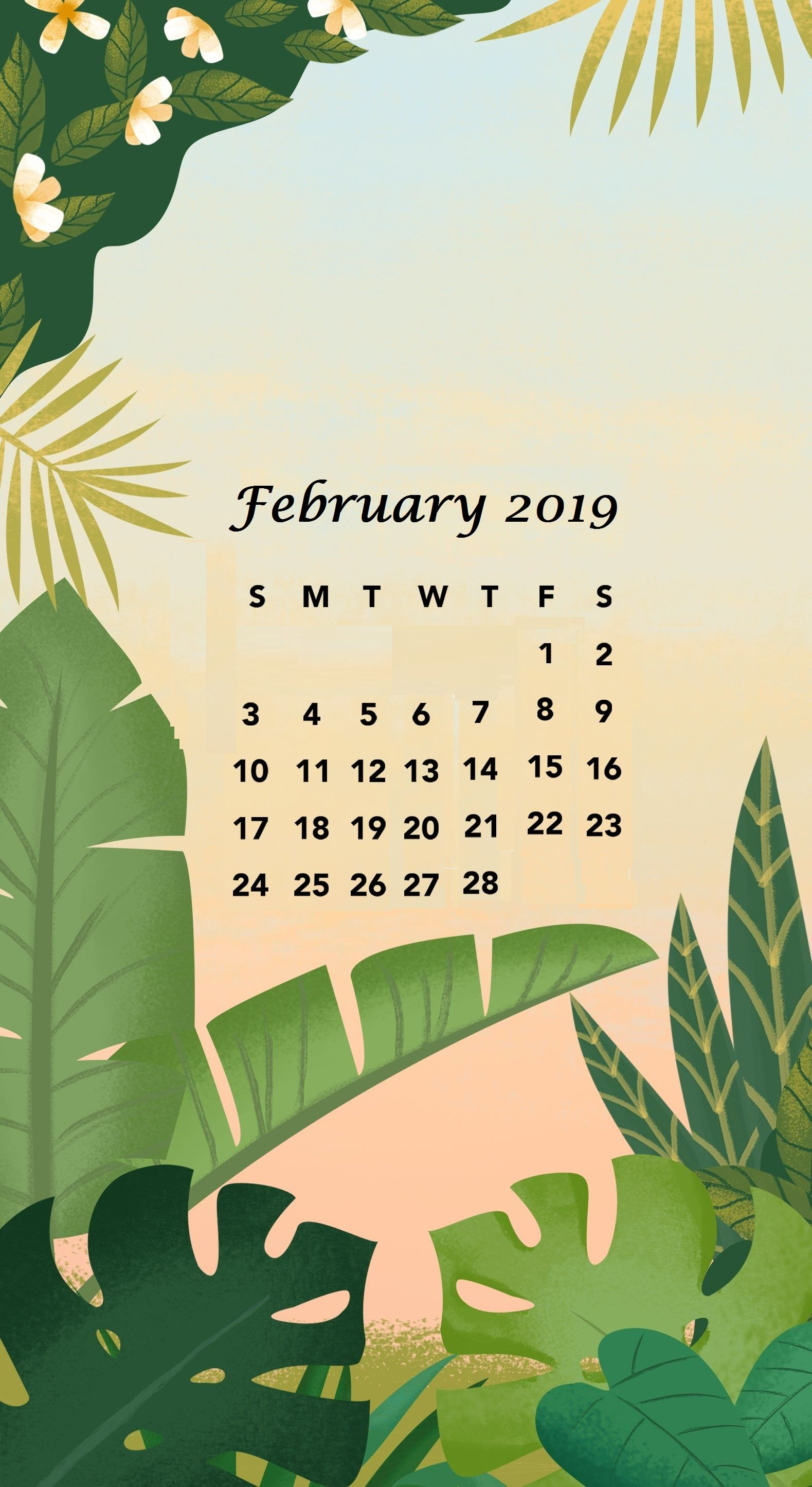 Free February 2019 iPhone Calendar Wallpaper Download