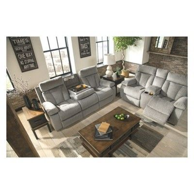 Mitchiner Reclining Sofa With Drop Down Table Light Gray Signature Design By Ashley Signature Design By Ashley