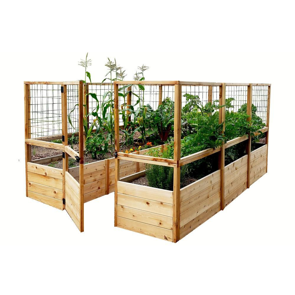 8 ft. X 12 ft. Raised Garden Bed W/Deer Fence Option in