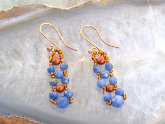 Blue Sodalite Bronze and Copper Dangle Earrings/ by DesertDabbler, $10.00