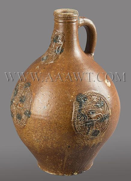 Stoneware, Salt Glaze, Jugs, Westerwald, German, 16th and 17th Century, Ad5-15