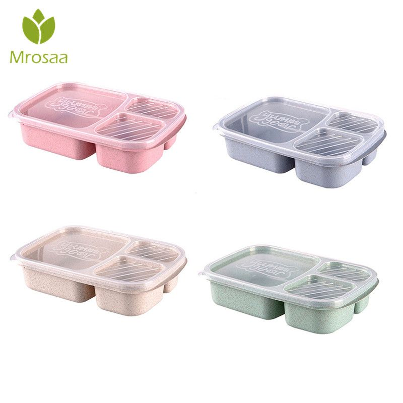 1pc Wheat Straw Lunchbox 3 Grids With Lid Fruit Food Box Storage