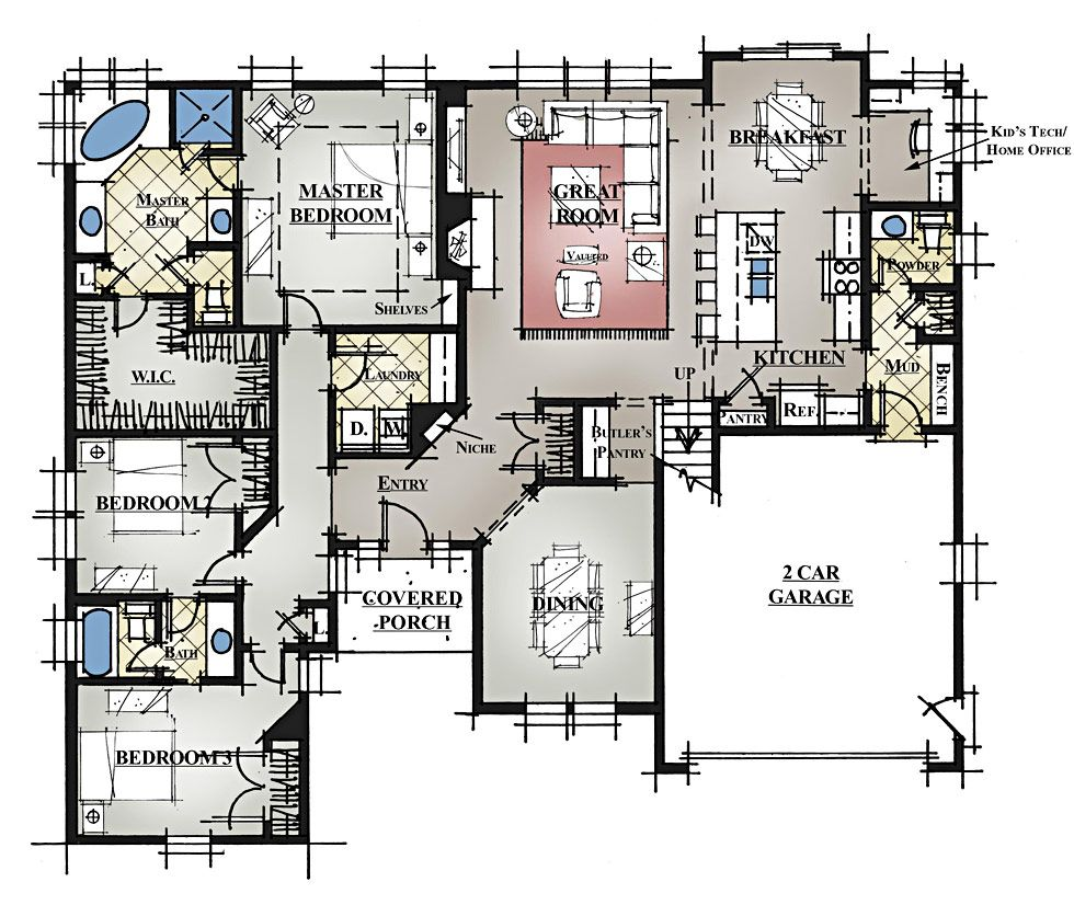 One Level House Plans With Bonus Room