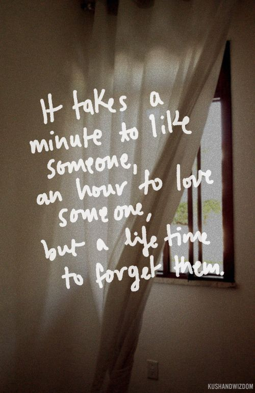 It takes a minute to like someone, an hour to love them, but forever to forget them.