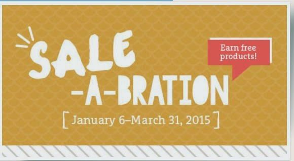 SALE-A-BRATION- Receive FREE product for every $50. spent!  Jan. 6- March 31 2015!  Fun Stampin' with Margaret!