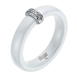 Amanda Wakeley white ceramic sterling silver diamond ring