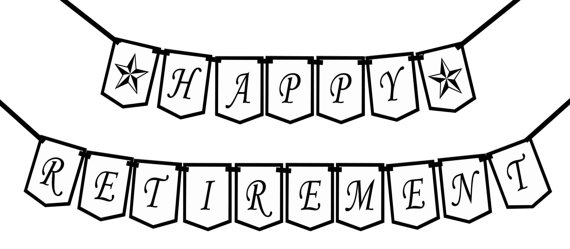 Happy Retirement Classic Printable Party Banner And By Bashanddash