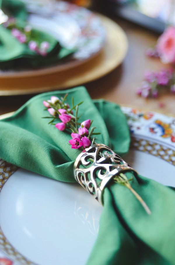Laser Cut Metallic Napkin Rings for a Colorful Boho Brewery Wedding | Nicole Marie Photography | See More! http://heyweddinglady.com/boho-brewery-wedding-inspiration-in-rich-jewel-tones/