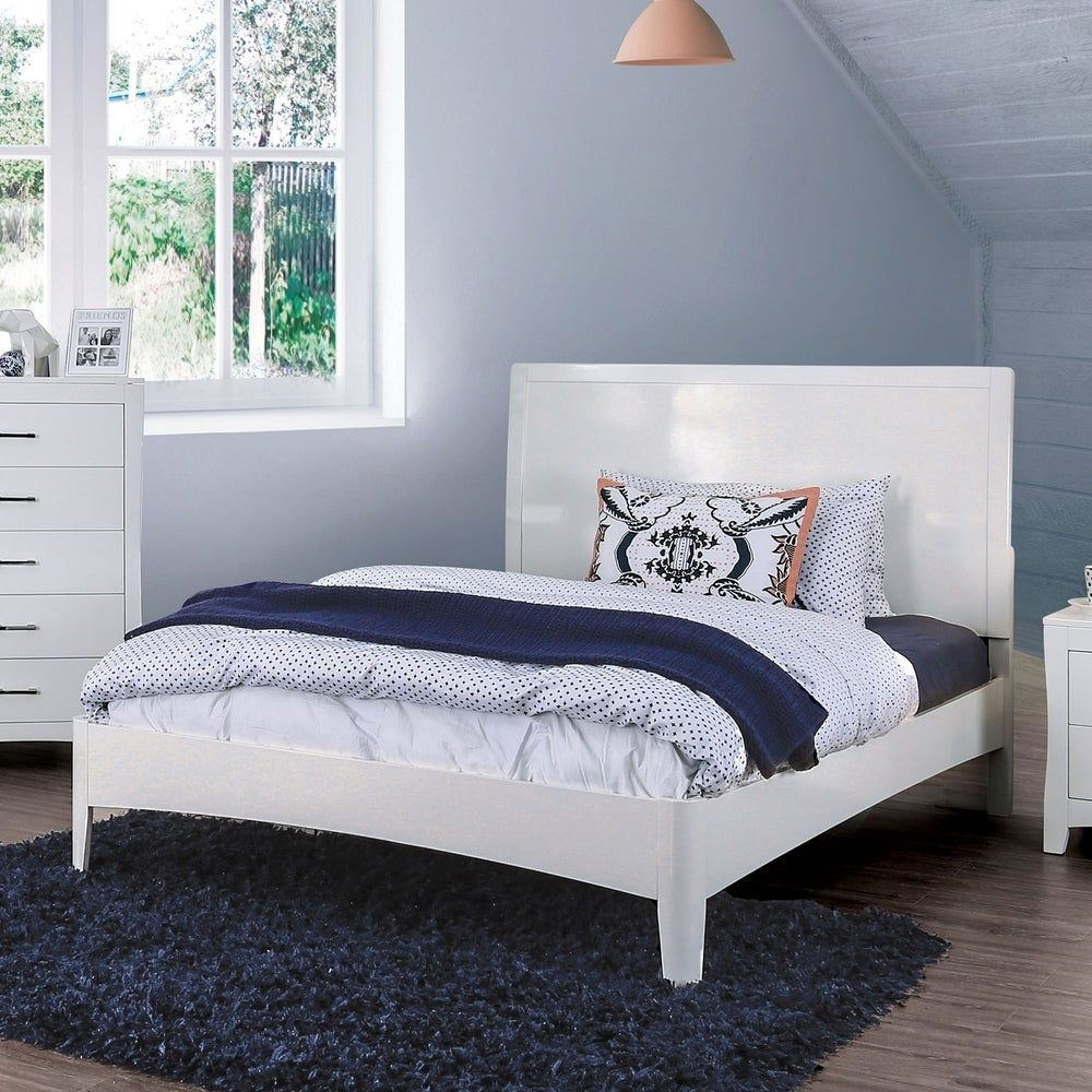 Photo of Transitional Wooden Twin Bed with Panelled Headboard and Footboard, White