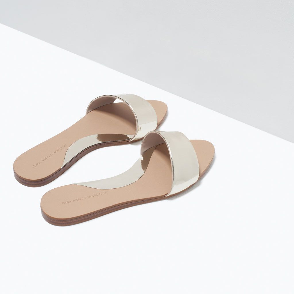 0ee56f42280 ZARA - SALE - SHINY FLAT SLIDES
