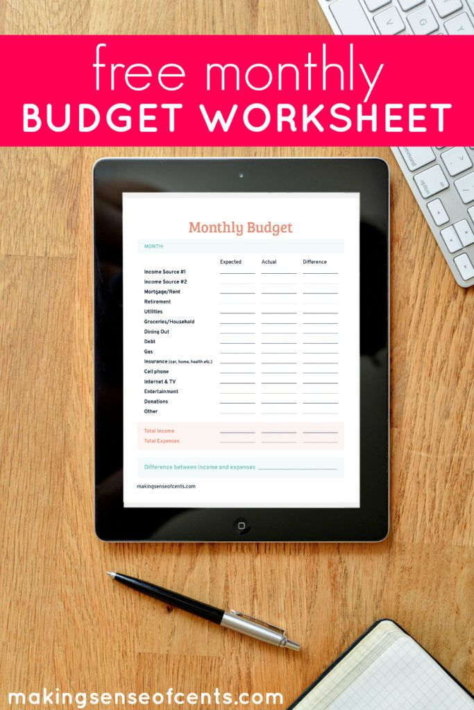 Free Monthly Budget Worksheet Monthly budget, Budgeting and Pdf