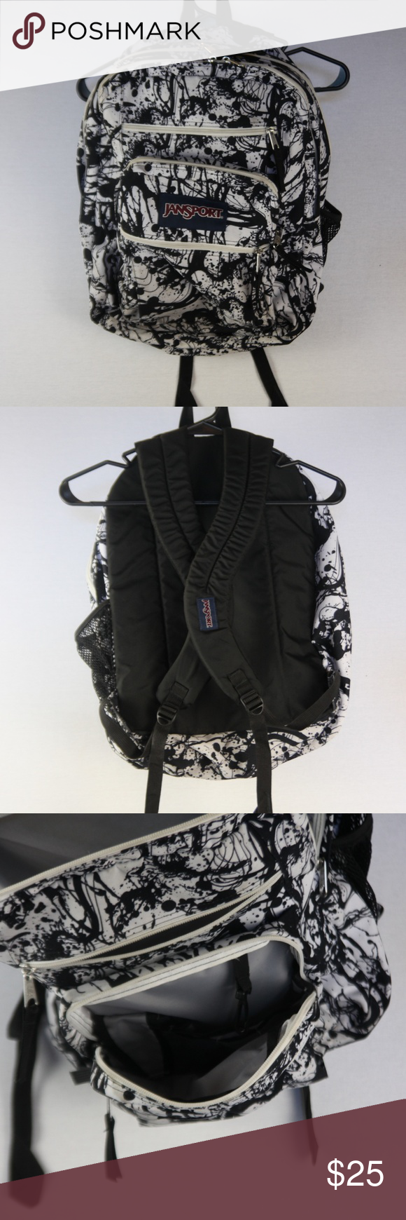 Retro Jansport Backpack Black and White Abstract | Black