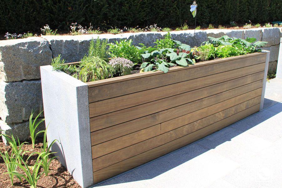 Hochbeet Holz und Stein #kräutergartendesign