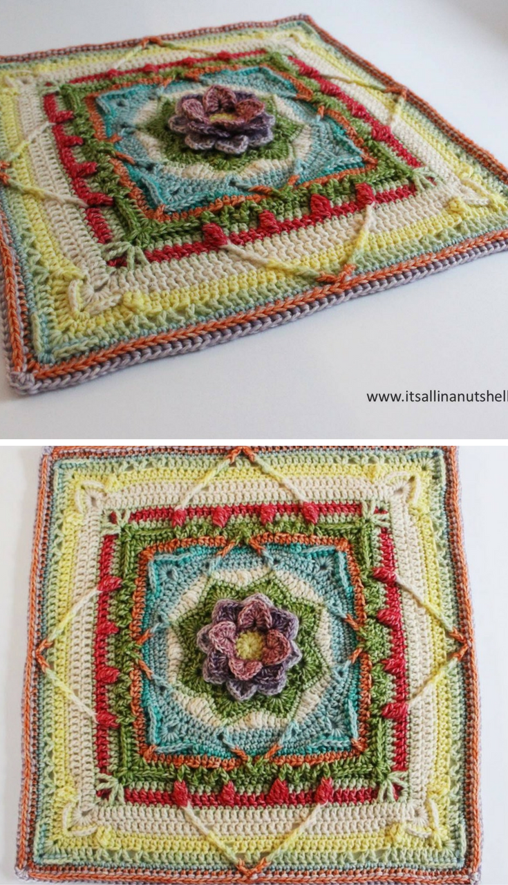 Demelza video tutorial – Central Square Crochet Pattern | Muestras ...