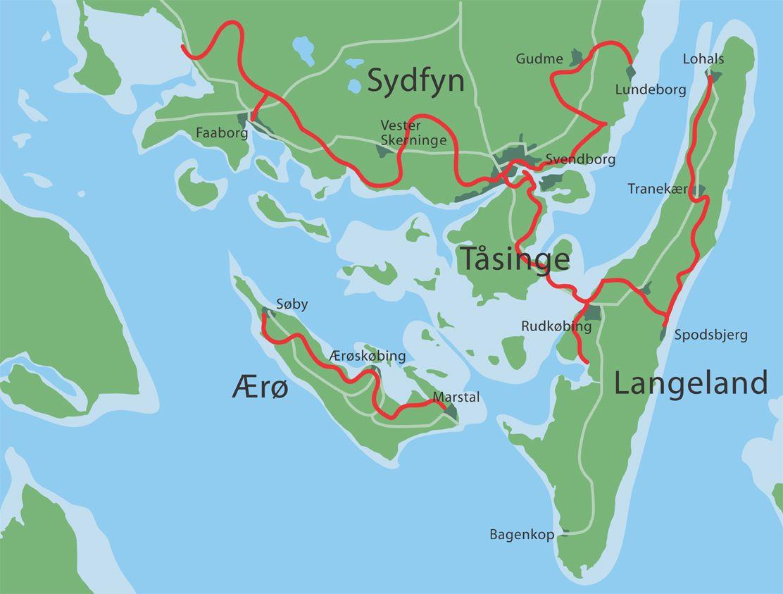 Det Sydfynske Ohav Oversigtskort Vandreture Vandring