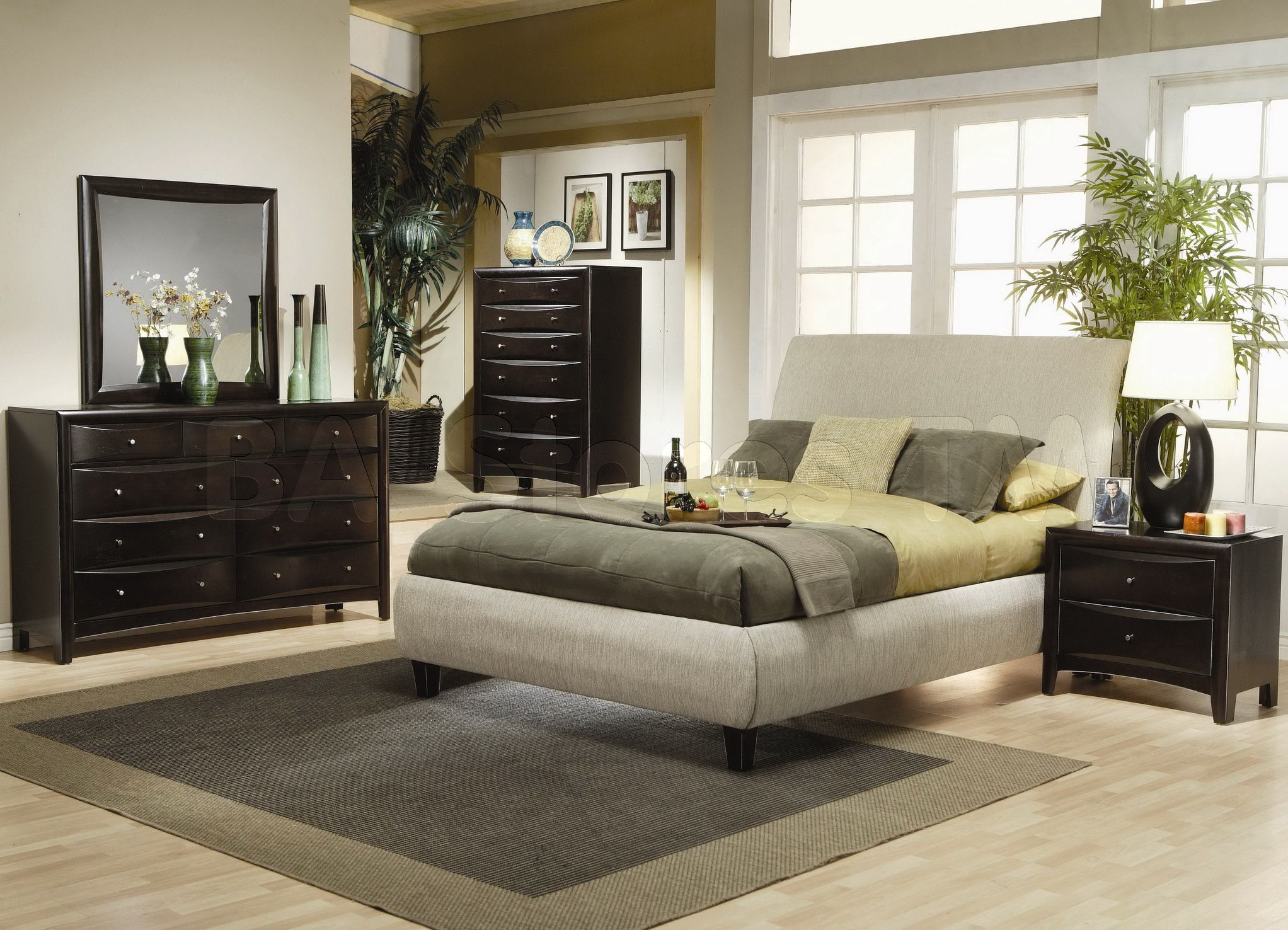 Coaster Co Phoenix 5 Pcs Fabric Upholstered Bedroom Set Bed
