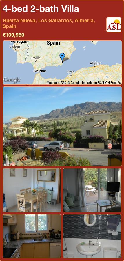 4-bed 2-bath Villa in Huerta Nueva, Los Gallardos, Almeria, Spain ►€109,950 #PropertyForSaleInSpain