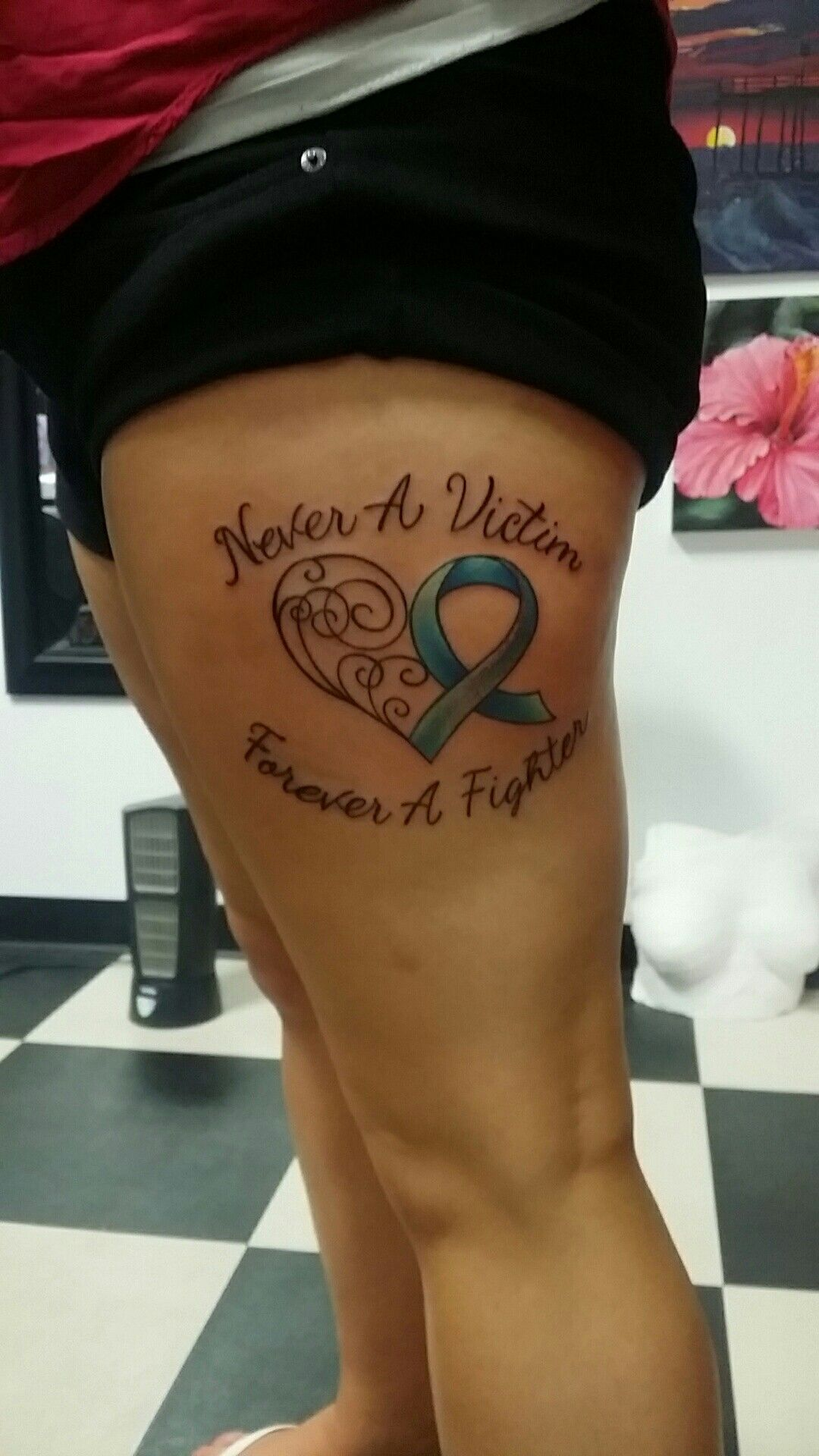 My Girl S New Tat The Teal Stands For Rape Survivor