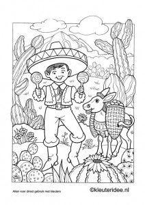 Kleurplaat Mexico Kleuteridee Nl Mexican Coloring Coloring Pages Coloring Books Mexican Colors