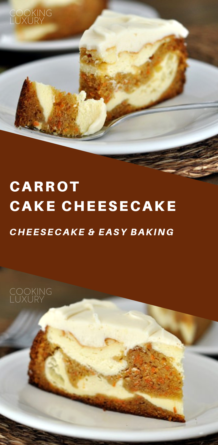 Carrot cake and cheesecake are swirled together and baked into layers of absolute decadence creating one of my most favorite desserts of all time.
