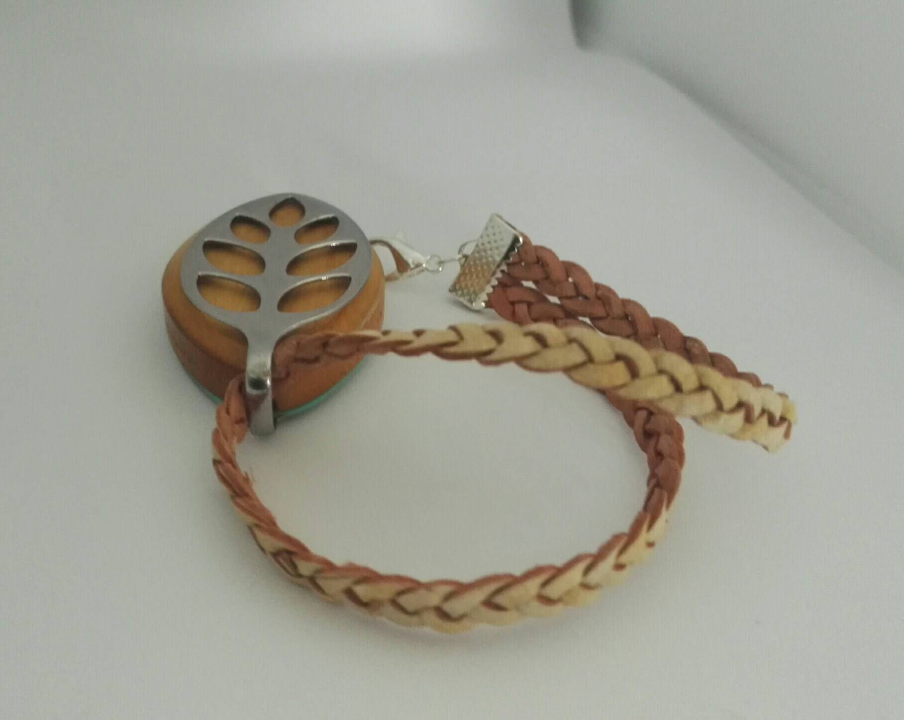 Bellabeat bracelet with double strand braided leather strap to use with Bellabeat Leaf silver bellabeat anklet