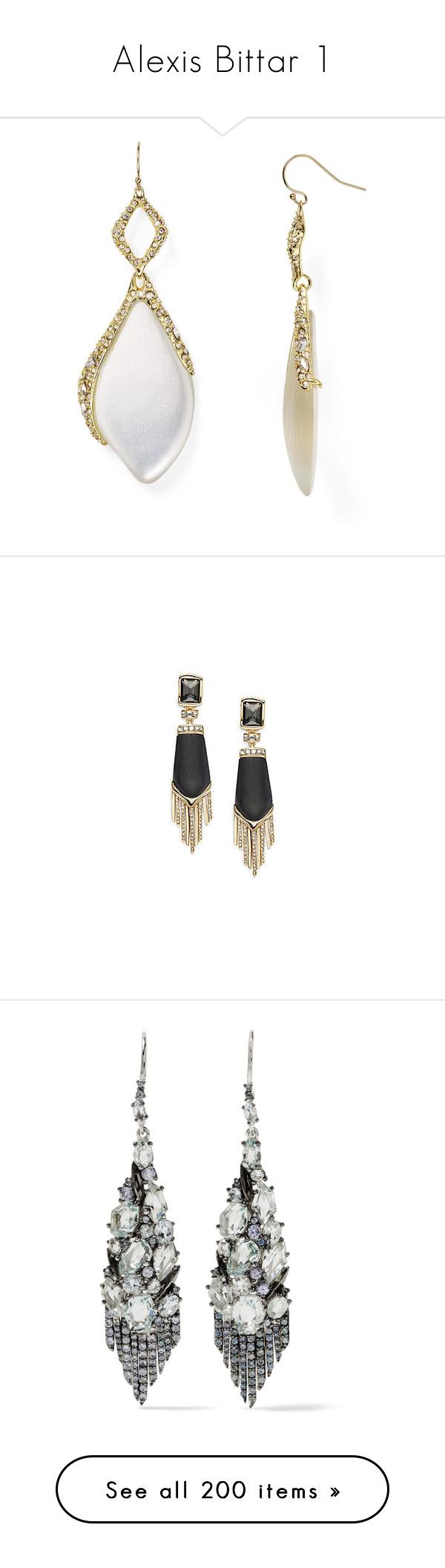 """Alexis Bittar 1"" by shulabond on Polyvore featuring jewelry, earrings, drop earrings, acrylic earrings, swarovski crystal jewelry, swarovski crystal earrings, lucite earrings, black, cabochon jewelry and fringe jewelry"
