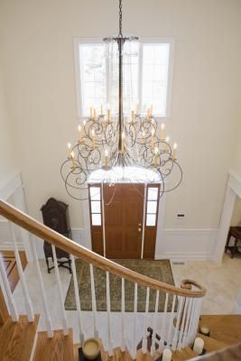 How To Hang A Chandelier In A Two Story Foyer Foyer Lighting Foyer Chandelier Foyer Decorating