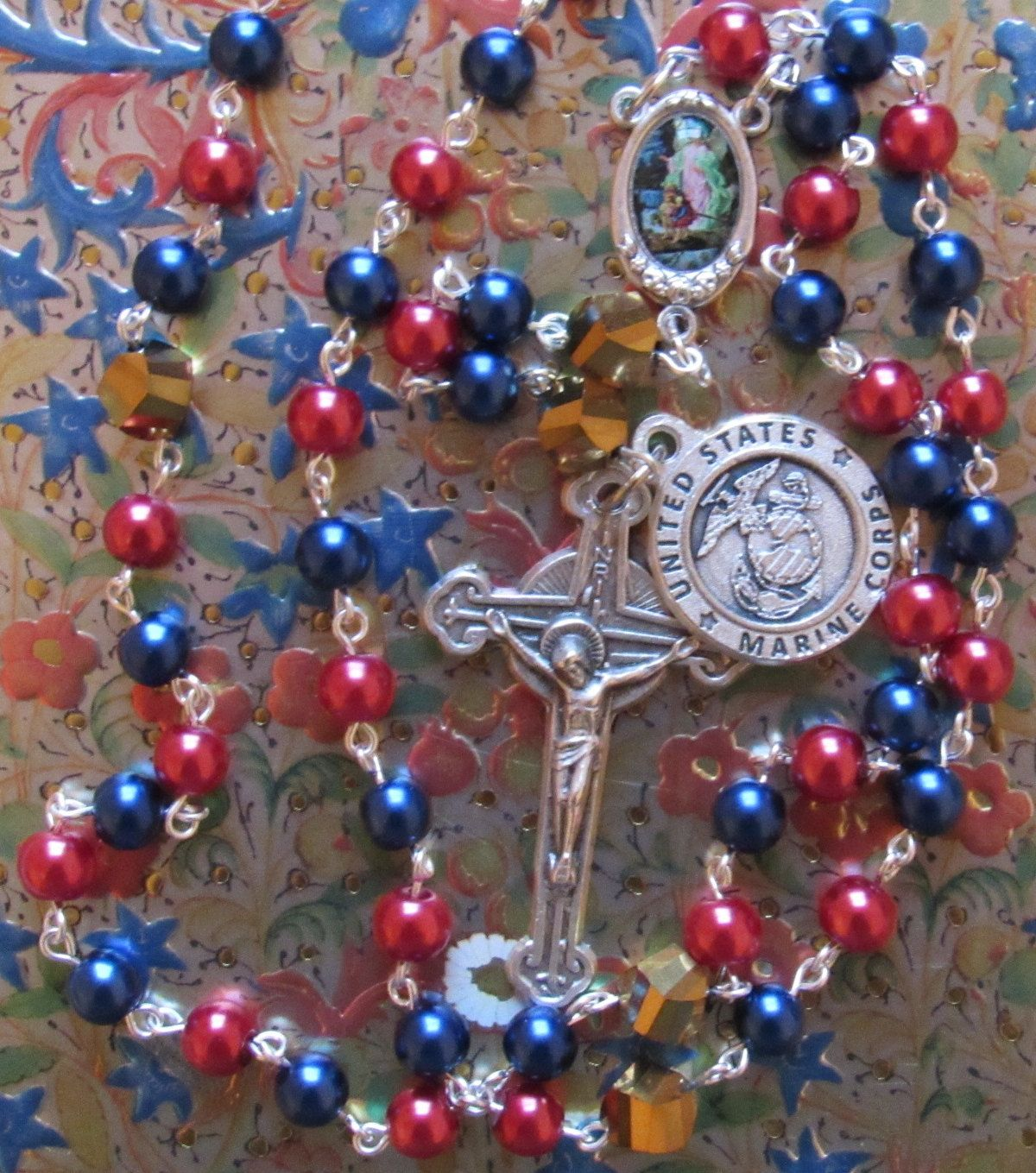 #Christian #Catholic #rosary #red #gold #blue #guardian #angel #military #US #American #Marines #Rosary, #Saint #Michael by #TripleTwisting on Etsy