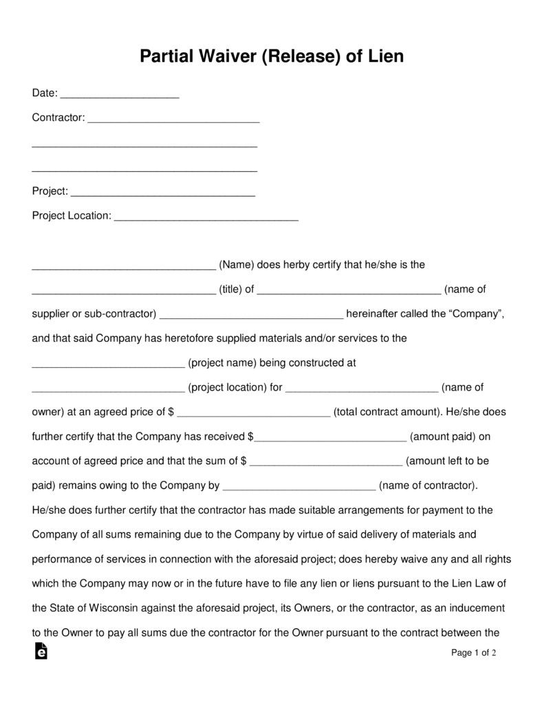 Subcontractor Lien Release Form Fresh Free Partial Release Of Lien Form Word Pdf Love Letter For Boyfriend Funny Printable Birthday Cards Letter For Him