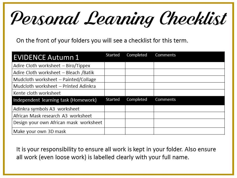 Personal Learning Checklist Autumn 1 African Art brief African - project checklist