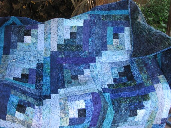 From Etsy - log cabin design, blue batik, lap quilt.