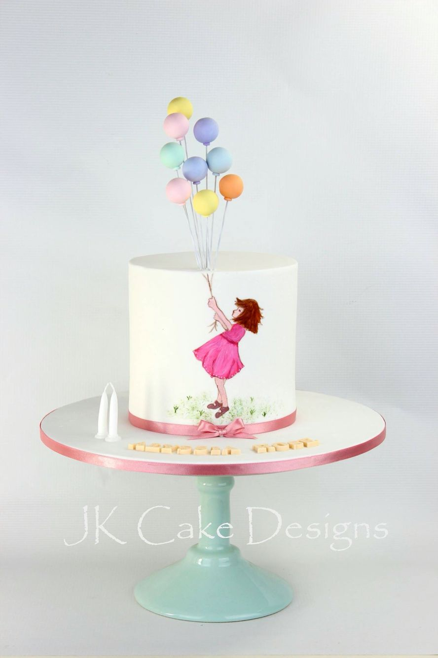 Balloon Cake Hand Painted Girl With Images Girl Cakes Balloon