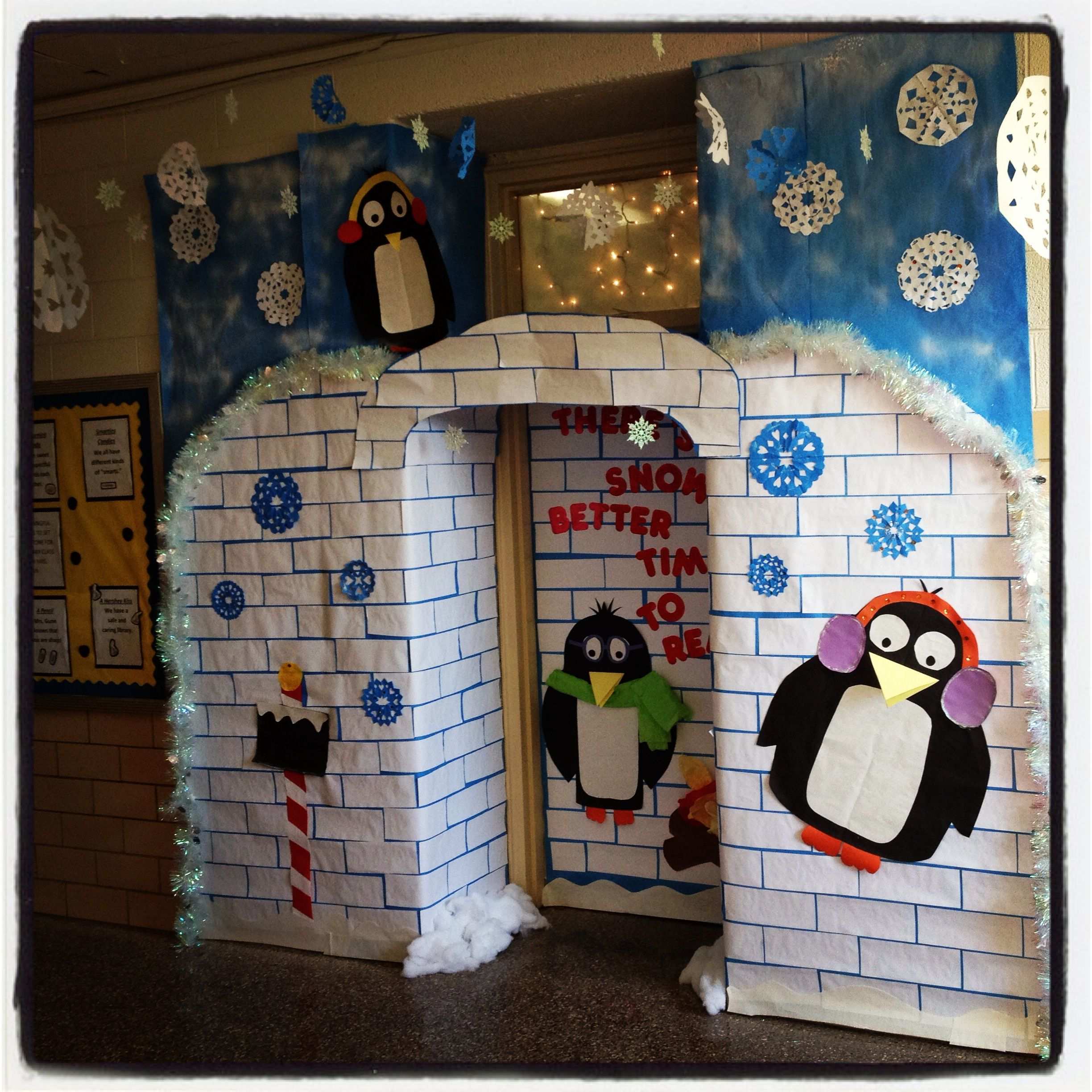 Winter wonderland classroom door definitely appropriate Cubicle bulletin board ideas