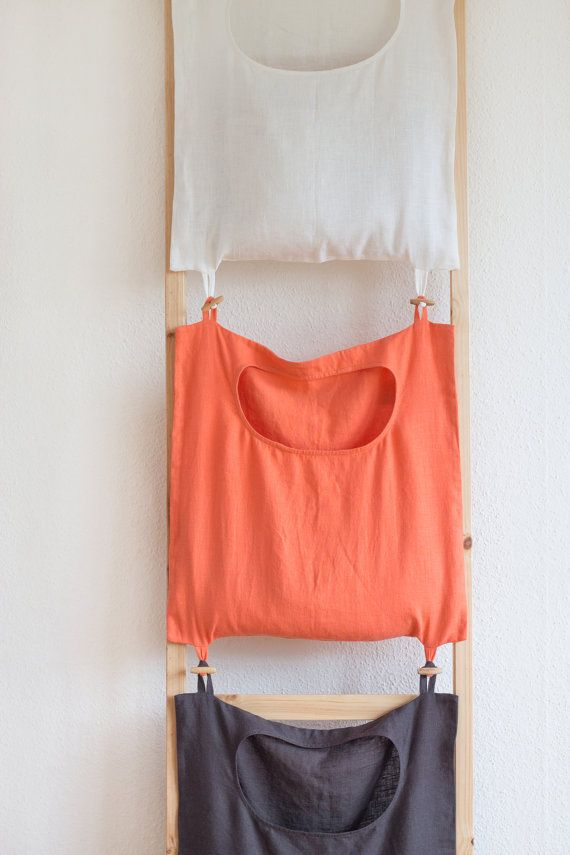 Color-coded laundry bag, linen laundry bag, laundry room organization