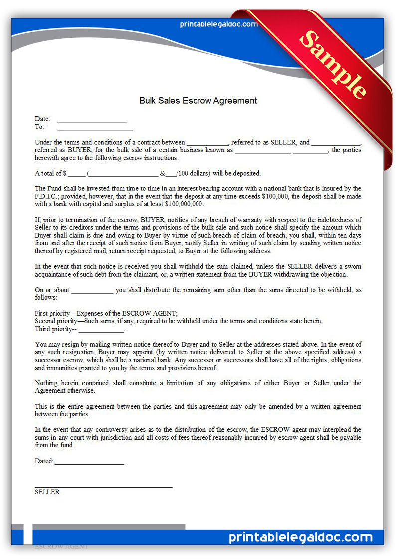 Free Printable Bulk Sales Escrow Agreement  Sample Printable