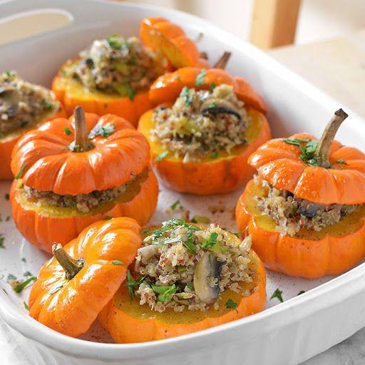 Savory Mushroom And Quinoa Stuffed Mini Pumpkins Recipe Yummly Recipe Vegan Halloween Food Vegan Thanksgiving Dinner Vegan Pumpkin Recipes