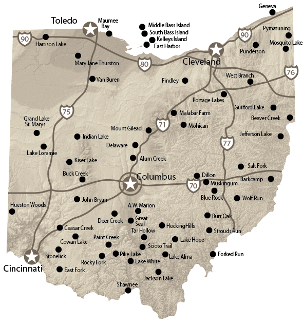 Map Of Ohio Cgrounds Cing Pinterest And Rv: Ohio State Parks Map At Slyspyder.com