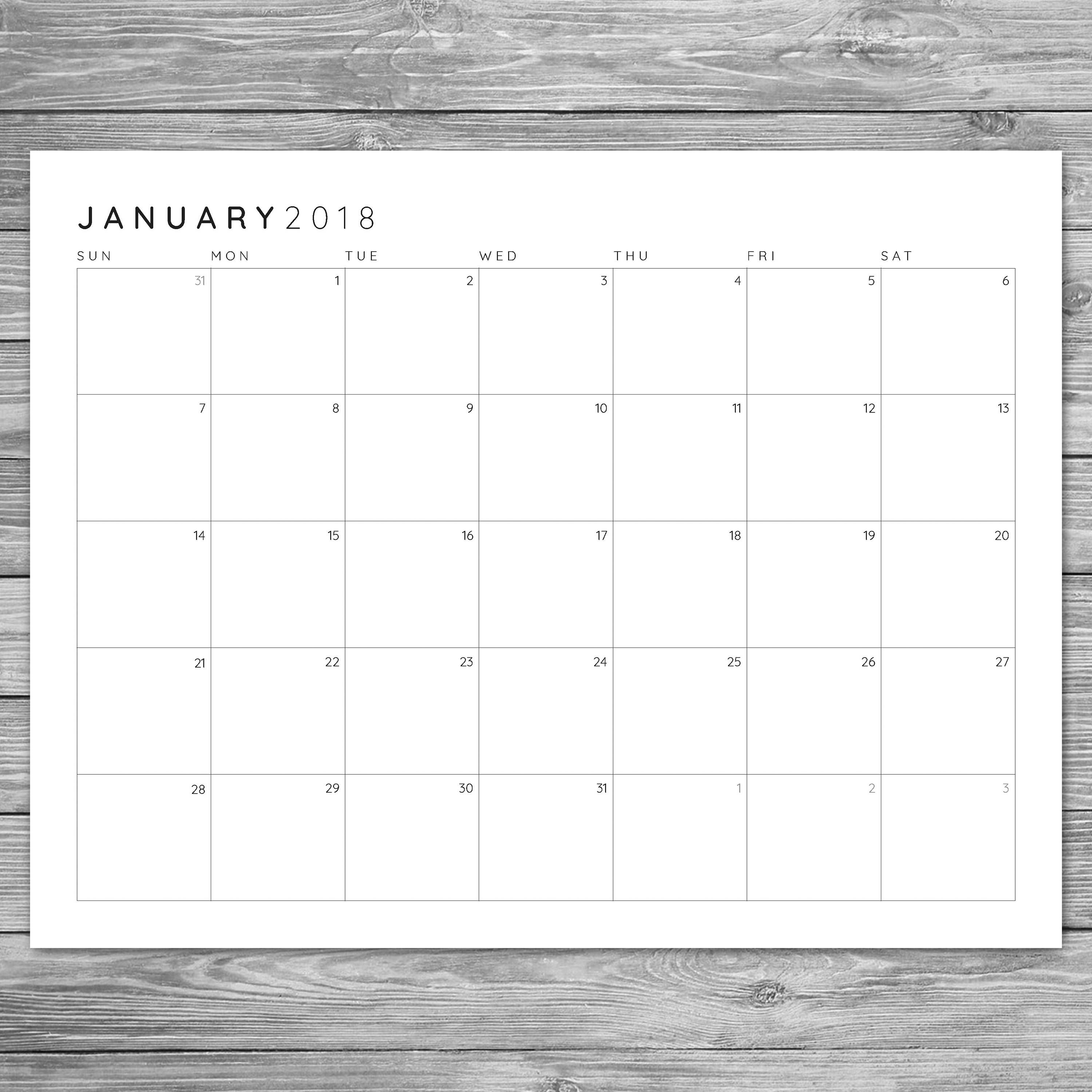 Printable Minimalist Monthly Grid Calendar Desk