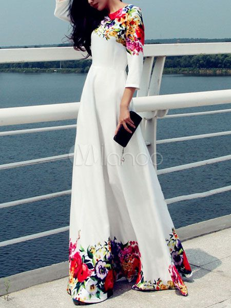 96dba7dde0c8 White Long Dress Floral Cotton Blend Maxi Dress For Women