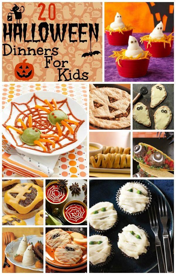 20 Halloween Dinners For Kids spider ravioli, snakebite calzone